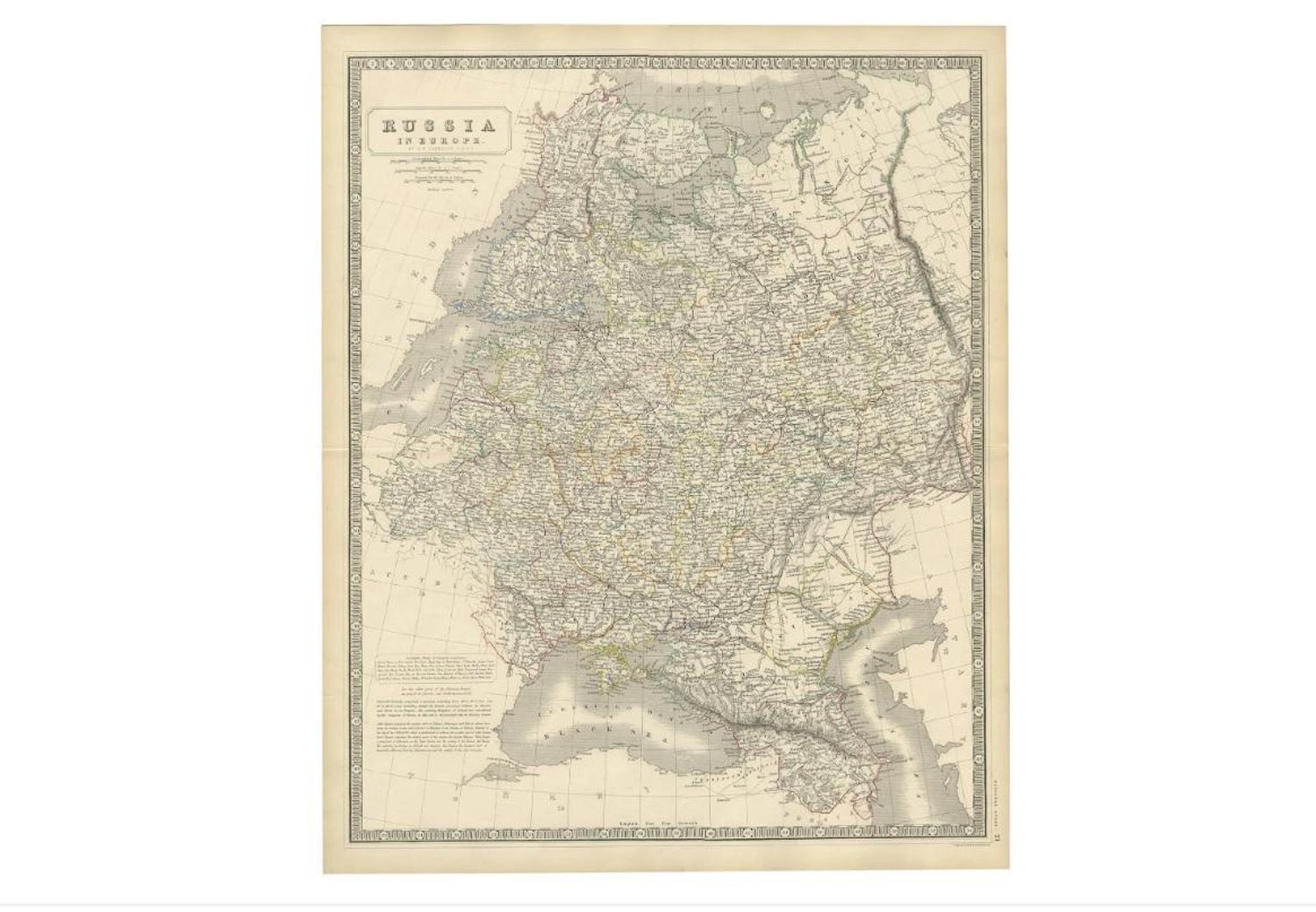 Antique Map of Russia \'in Europe\' by W. & A.K. Johnston, circa 1850