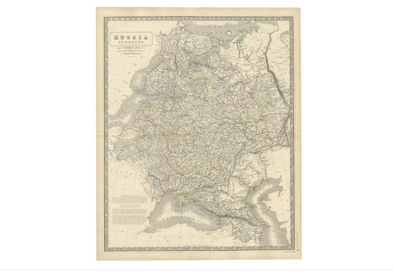 19th Century Antique Map of Russia 'in Europe' by W. & A.K. Johnston, circa 1850 For Sale