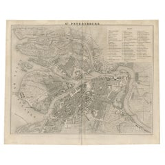 Antique Map of Saint Petersburg and Surroundings by Balbi '1847'
