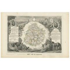 Antique Map of Sarthe 'France' by V. Levasseur, 1854