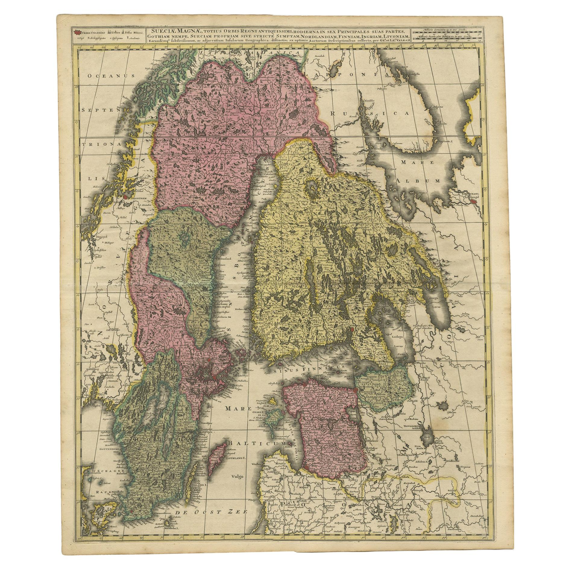 Antique Map of Scandinavia and the Baltic Region by Valk, circa 1690