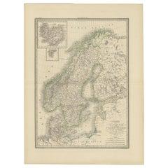 Antique Map of Scandinavia by Lapie, 1842