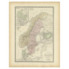 Antique Map of Scandinavia by Levasseur, 1875