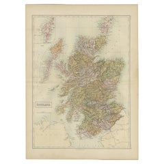 Antique Map of Scotland by A & C. Black, 1870