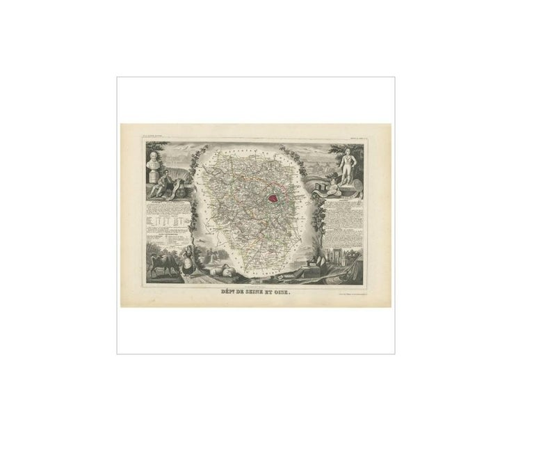 Antique Map of Seine et Oise 'France' by V. Levasseur, 1854 In Good Condition For Sale In Langweer, NL