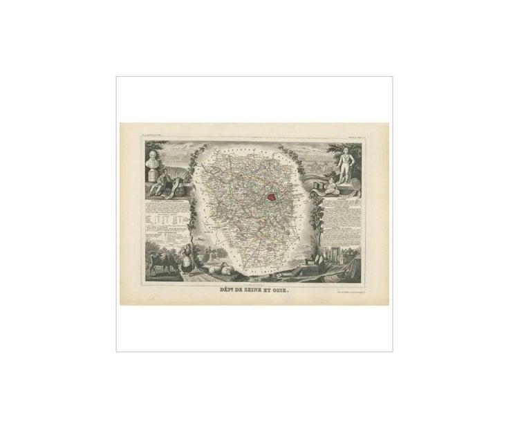 19th Century Antique Map of Seine et Oise 'France' by V. Levasseur, 1854 For Sale