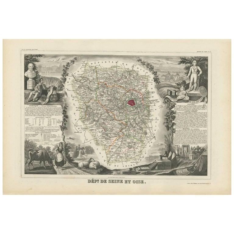 Antique Map of Seine et Oise 'France' by V. Levasseur, 1854 For Sale