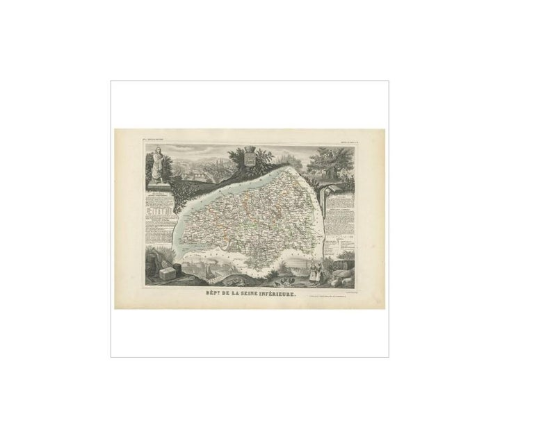 Antique map titled 'Dépt. de la Seine Inférieure'. Map of the French department of Seine Inferieure, France. Centered around its capital of Rouen, this area is known for its production of Gournay, a soft cheese of the fresh Neufchatel type. The map