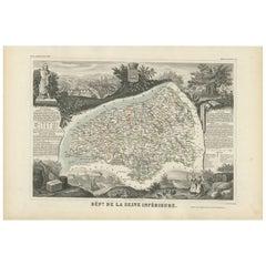 Antique Map of Seine Inférieure, France by V. Levasseur, 1854