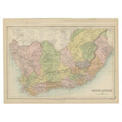Antique Map of South Africa by A & C. Black, 1870