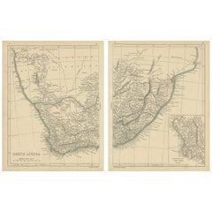 Antique Map of South Africa by Lowry, 1852