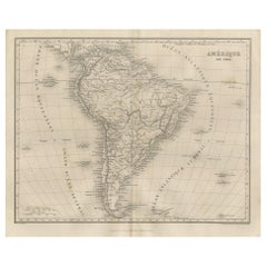 Antique Map of South America by Balbi '1847'