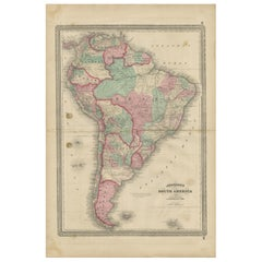 Antique Map of South America by Johnson '1872'