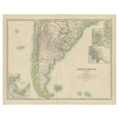 Antique Map of South America by Johnston '1909'