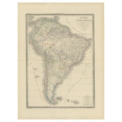 Antique Map of South America by Lapie '1842'