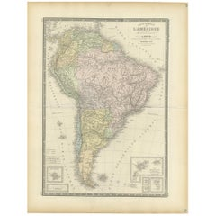 Antique Map of South America by Levasseur, 1875