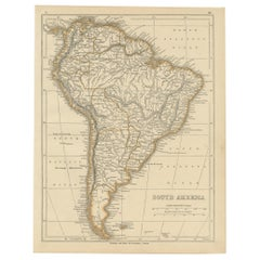 Antique Map of South America by Lowry, 1852