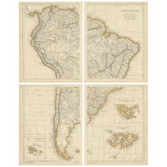 Antique Map of South America by Lowry, '1852'