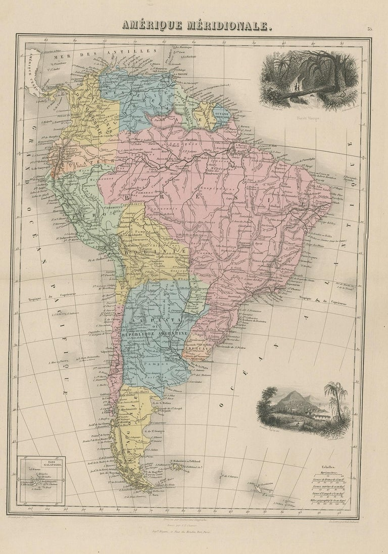 Antique map titled 'Amérique Méridionale'. Old map of South America. With an inset map of the Galapagos Islands and decorative vignettes. This map originates from 'Géographie Universelle Atlas-Migeon' by J. Migeon.