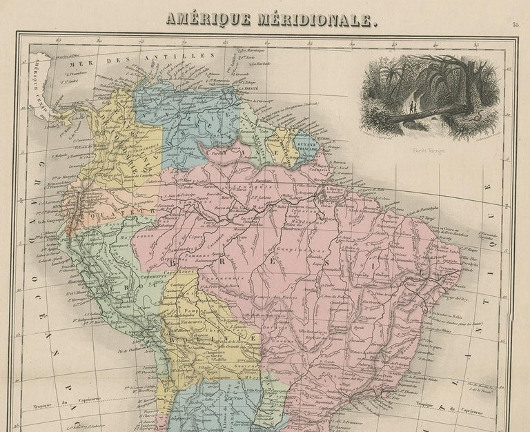 French Antique Map of South America by Migeon '1880' For Sale
