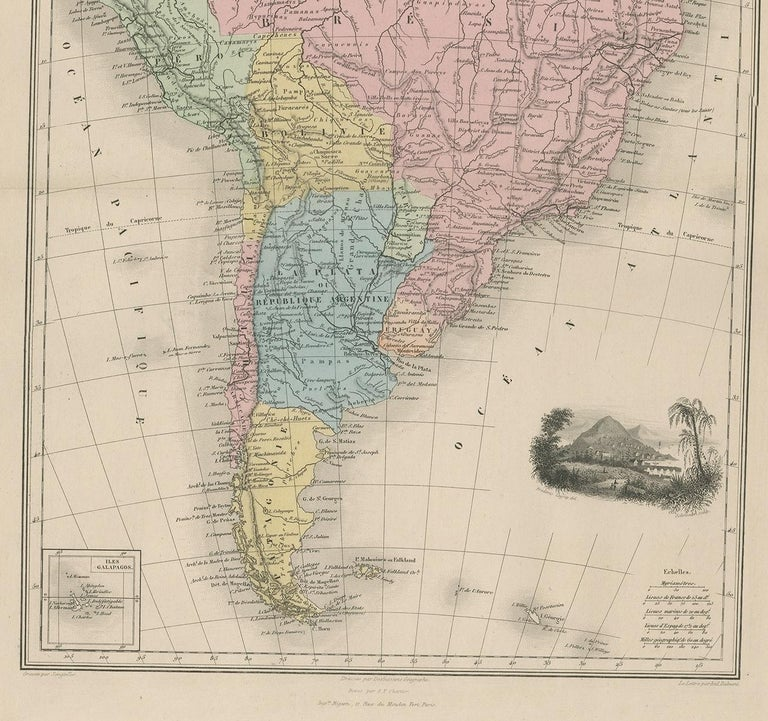 Antique Map of South America by Migeon '1880' In Good Condition For Sale In Langweer, NL
