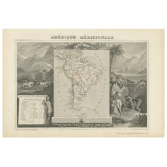 Antique Map of South America by V. Levasseur, 1854