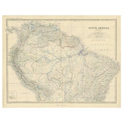 Antique Map of South America 'North' by A.K. Johnston, 1865