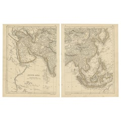 Antique Map of South Asia by Lowry, '1852'