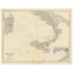 Antique Map of South Italy by A.K. Johnston, 1865