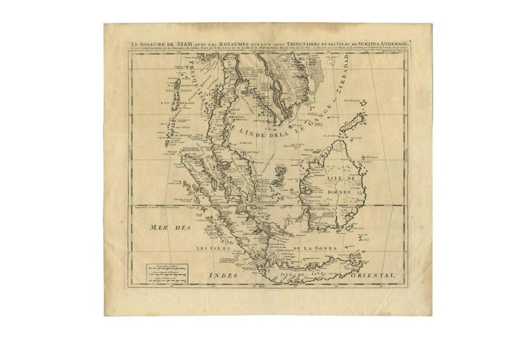 18th Century Antique Map of Southeast Asia by H. Chatelain, circa 1720 For Sale