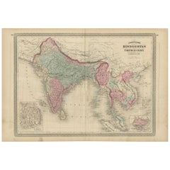 Antique Map of Southeast Asia by Johnson, 1872