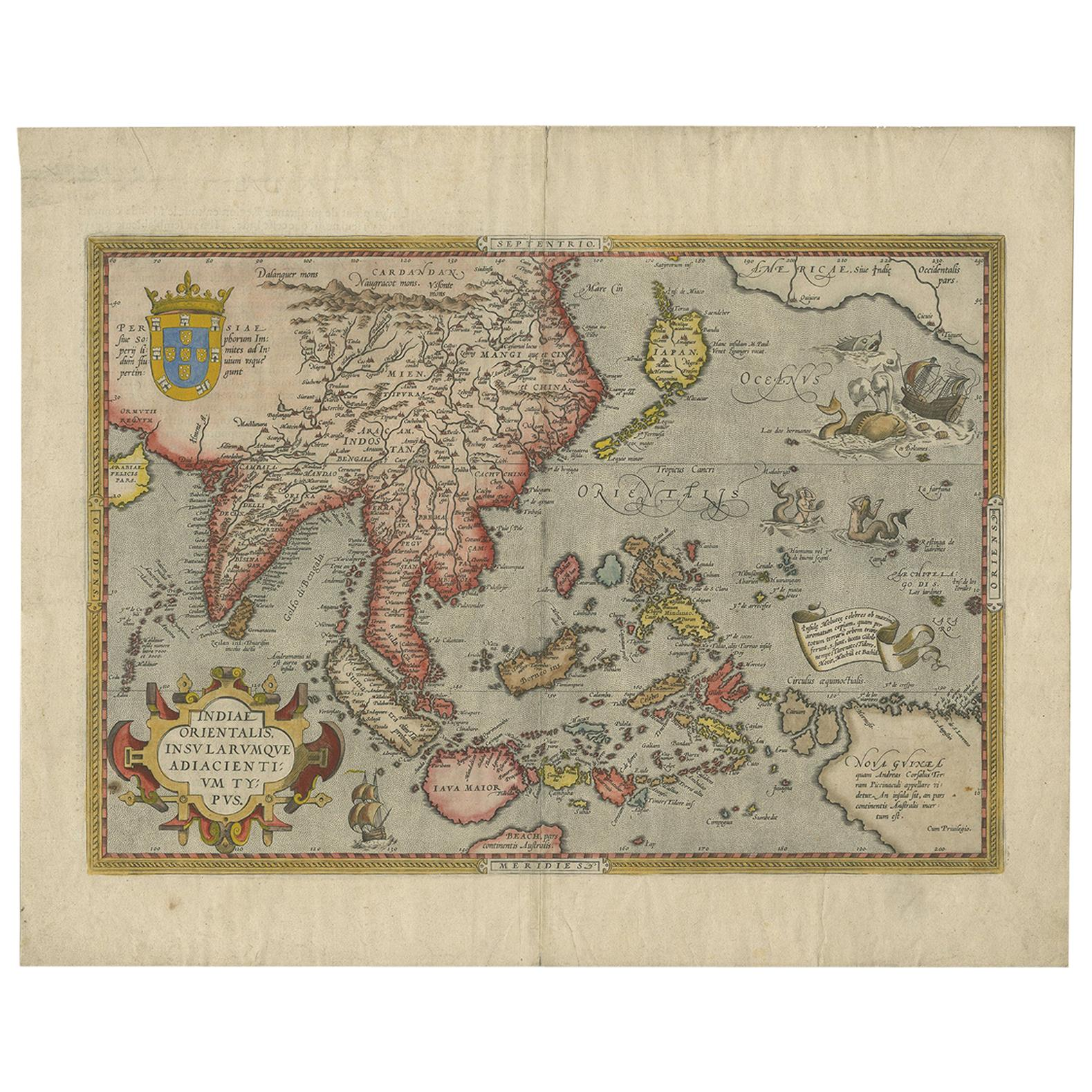 Antique Map of Southeast Asia by Ortelius '1587'