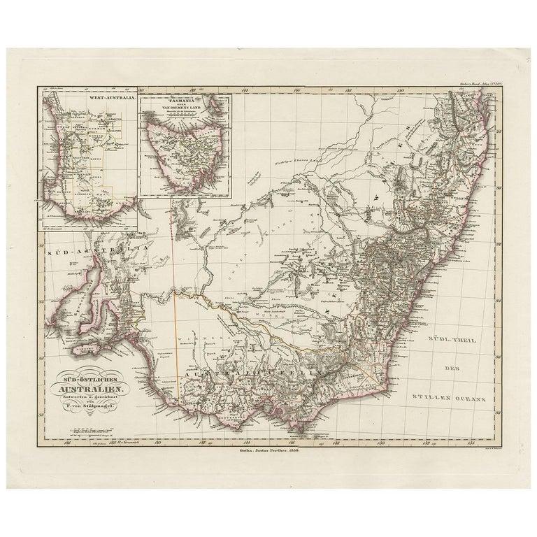 Australia Map 1850.Antique Map Of Southeastern Australia By F Von Stulpnagel 1850 For
