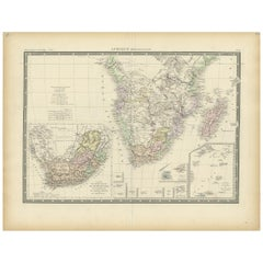 Antique Map of Southern Africa by Levasseur, 1875