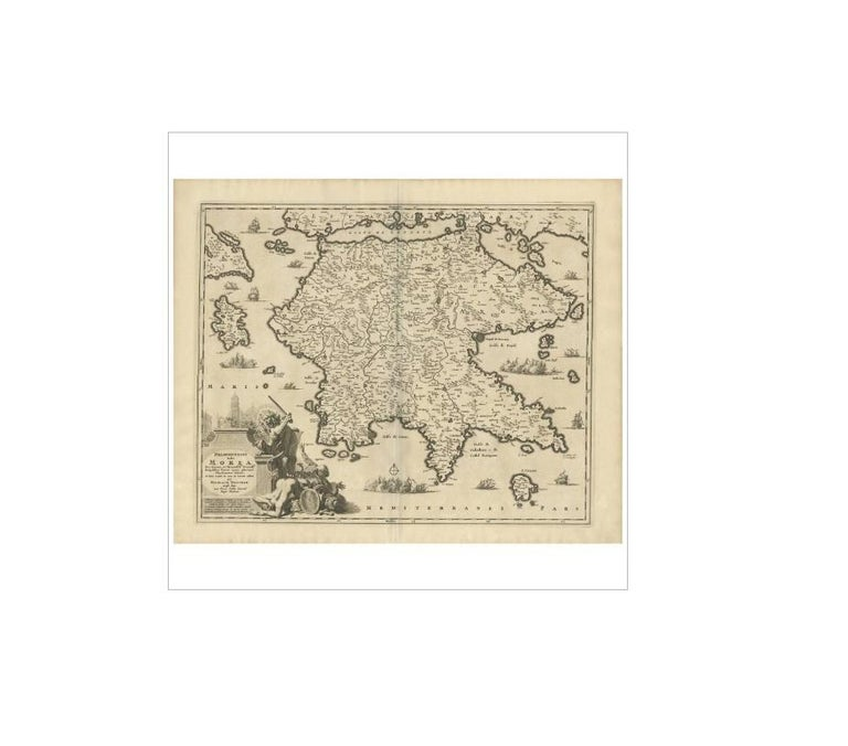 Antique Map of Southern Greece by N. Visscher, circa 1680 In Good Condition For Sale In Langweer, NL