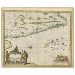 Antique Map of Southern India by Baldaeus, circa 1672