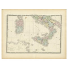Antique Map of Southern Italy by Levasseur '1875'