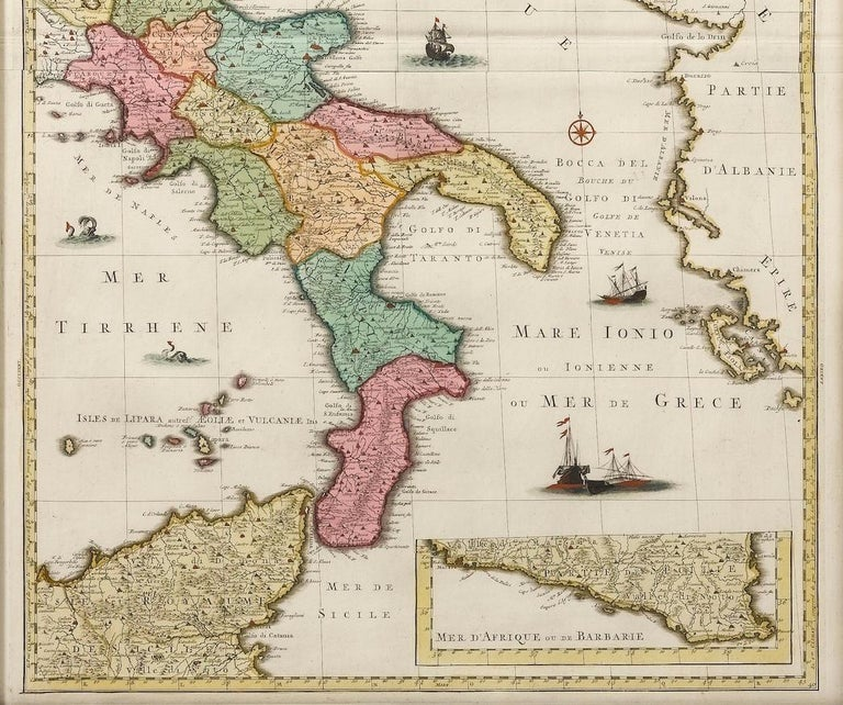 European Antique Map of Southern Italy, Hand-Colored, circa 1720 For Sale