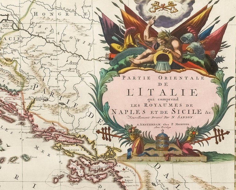Early 18th Century Antique Map of Southern Italy, Hand-Colored, circa 1720 For Sale