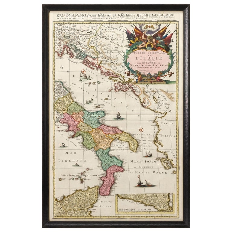 Antique Map of Southern Italy, Hand-Colored, circa 1720 For Sale
