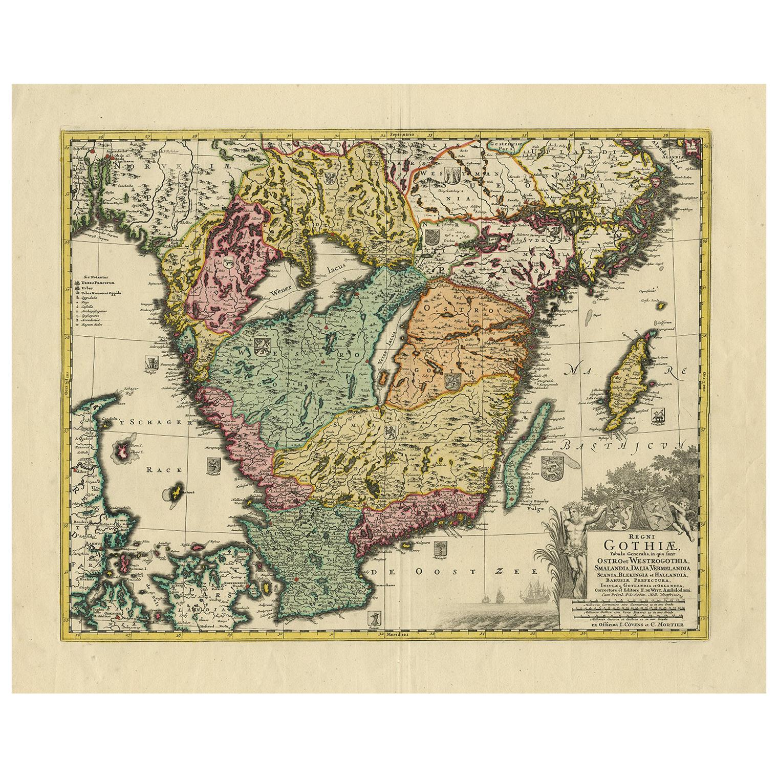 Antique Map of Southern Sweden by Covens & Mortier, 'circa 1720'