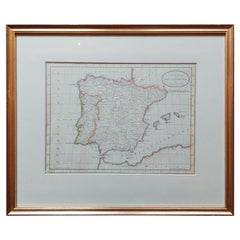 Antique Map of Spain and Portugal by Bayly, 'c.1795'