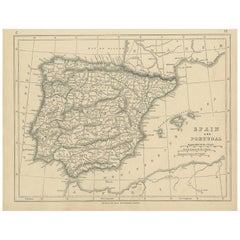 Antique Map of Spain and Portugal by Lowry, '1852'