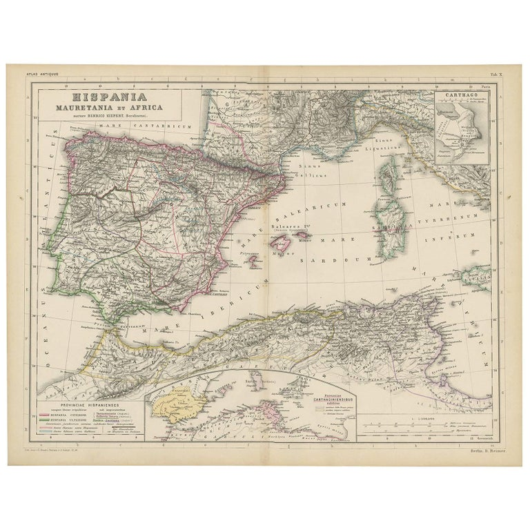 Antique Map Of Spain Mauritia And Africa By H Kiepert Circa 1870