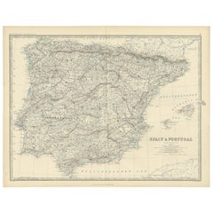 Antique Map of Spain & Portugal by A.K. Johnston, 1865