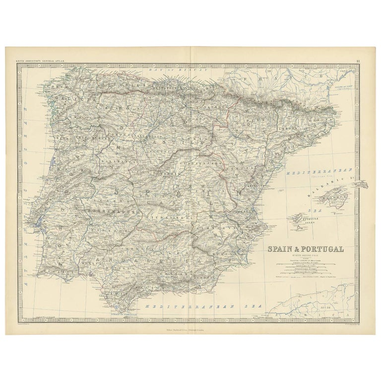Map Of Spain Geography.Antique Map Of Spain Portugal By A K Johnston 1865
