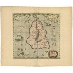 Antique Map of Sri Lanka by Ptolemy/Mercator, circa 1695