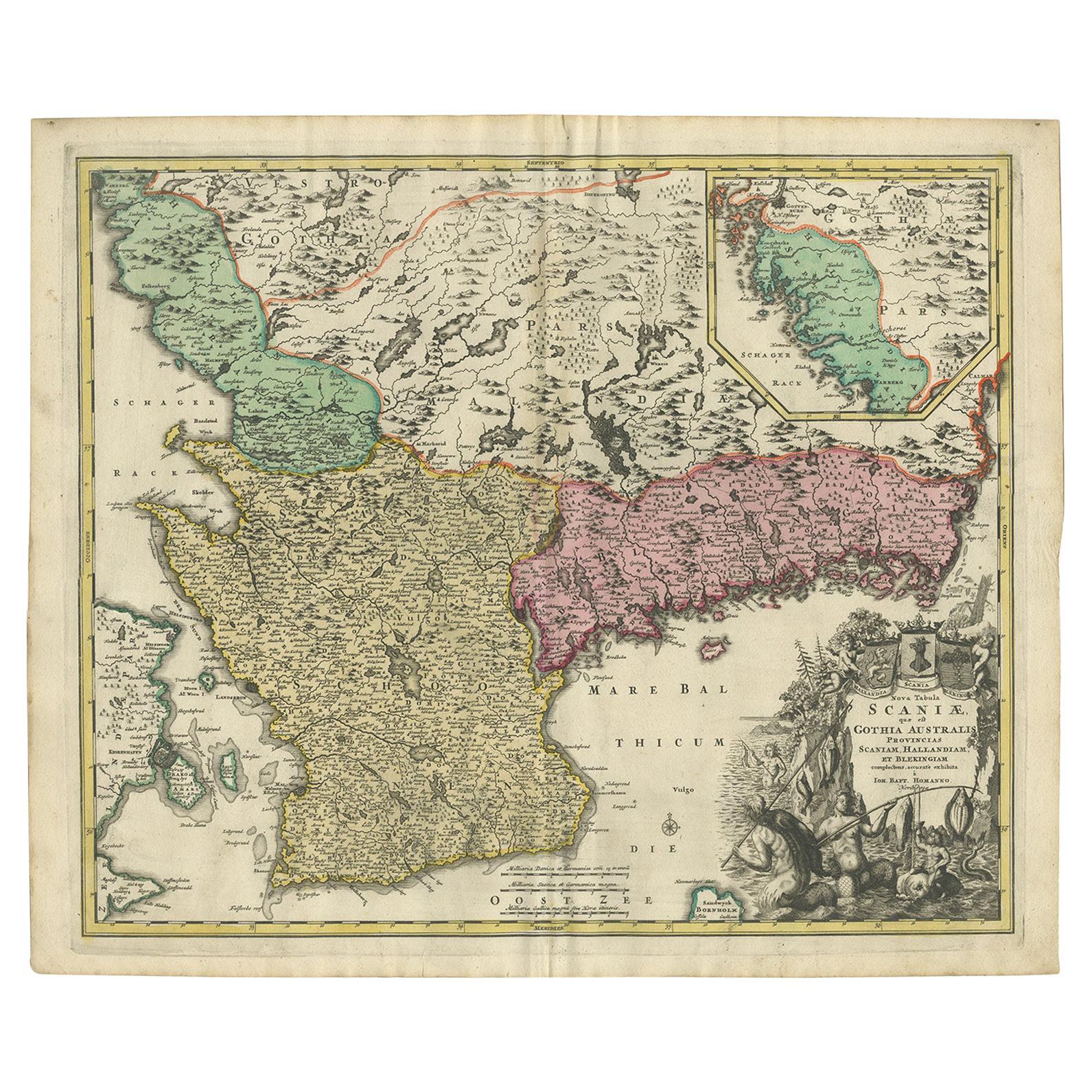 Antique Map of Sweden by Homann, 'circa 1730'