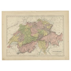 Antique Map of Switzerland by A & C. Black, 1870