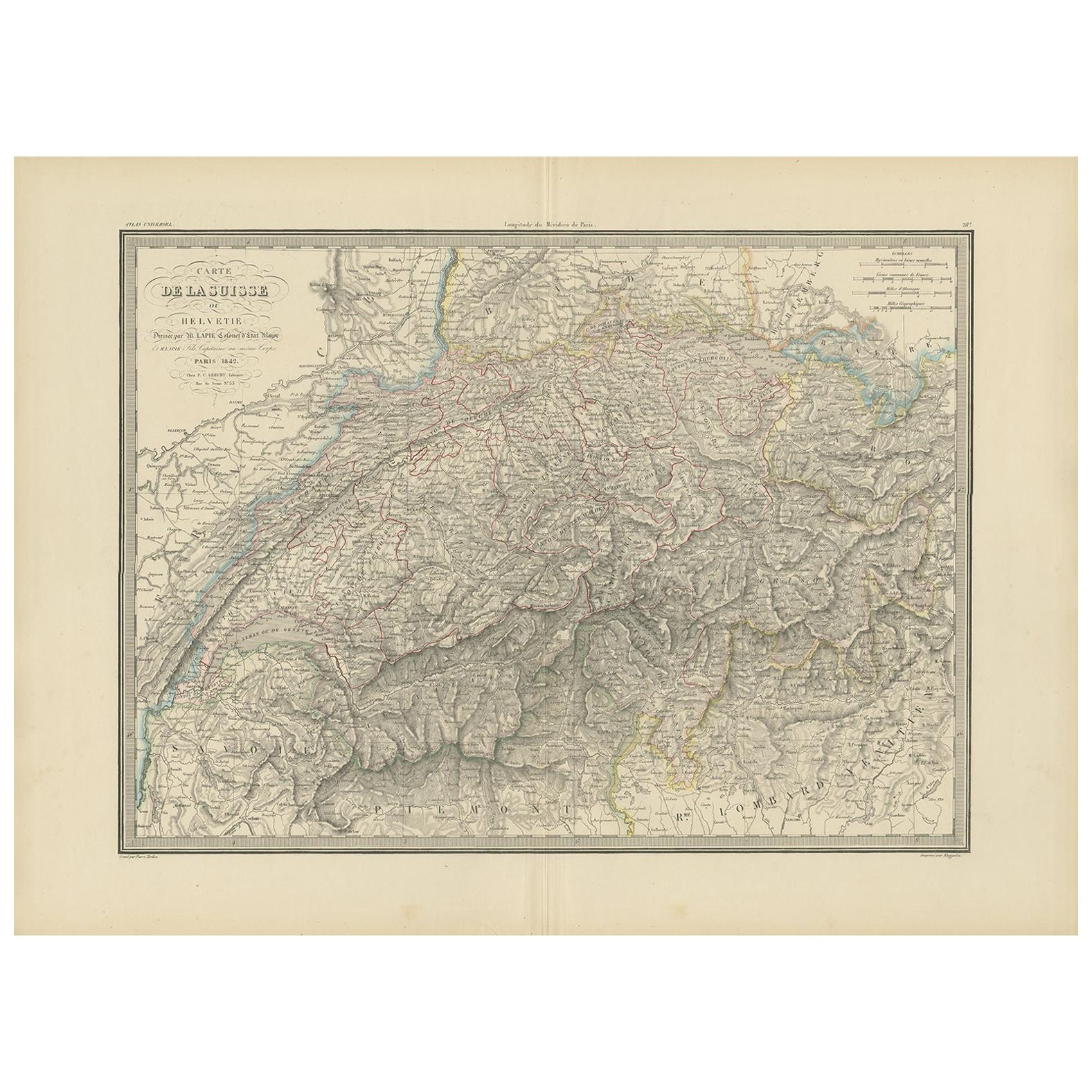 Antique Map of Switzerland by Lapie, 1842